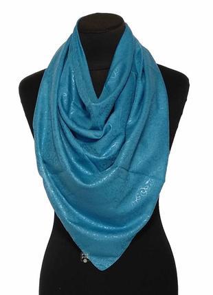 Тонкий хлопковый платок хустка хлопок однотонный голубой джинс новый качественный