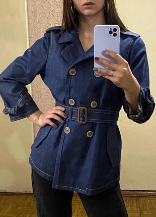 Джинсовый пиджак плащ с поясом