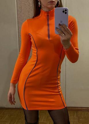 Оранжевое яркое короткое облегающее платье boohoo