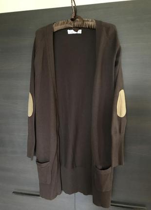Zara длинный коричневый кардиган с бежевыми  заплатками на локтях, размер м