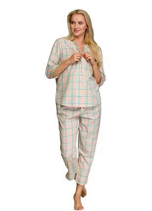 Женский хлопковый домашний комплект рубашка и штаны key lns 452 1 a21
