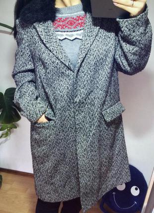 Пальто бойфренд прямого кроя со съёмным мехом серое чёрное осеннее ,фактурное atm новое!