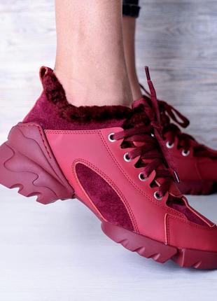Di'or зимние меховые кожаные кроссовки овчина зимові шкіряні кросівки ботинки черевики
