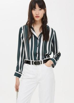 Стильная рубашка блузка в пижамном стиле принт полоска