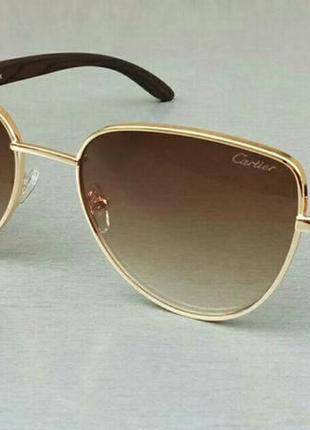 Cartier очки кошечки женские солнцезащитные коричневые с градиентом в золоте