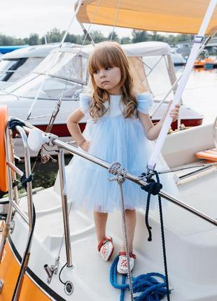 Детское нарядное платье голубого цвета мия-2