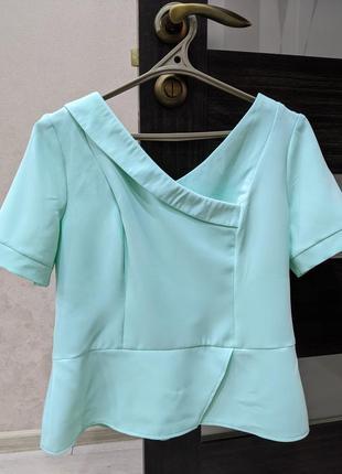 Бірюзова блуза і спідниця р.l