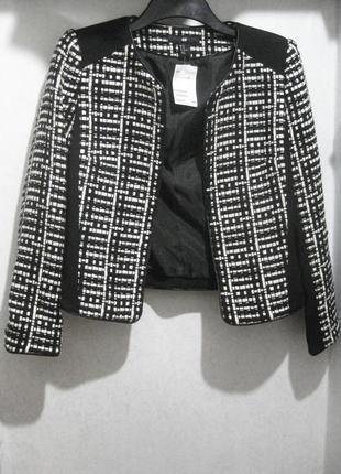 Пиджак h&m чёрный белый в клетку серый коттон акрил кожаная кайма твидовый