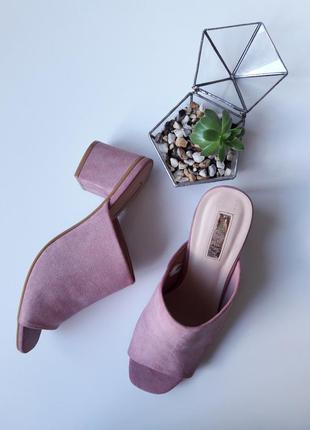Большой выбор крутые персиковые босоножки сабо на каблуках тренд пудра велюр