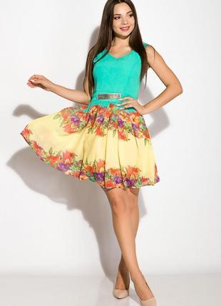 Шифоновое платье с v-образным вырезом мятно-желтый