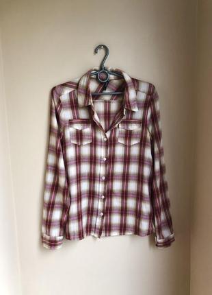 Рубашка клеточку прямого кроя сорочка кл