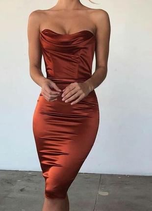 Корсетное атласное платье миди oh polly. корсетна сукня атласна міді2 фото