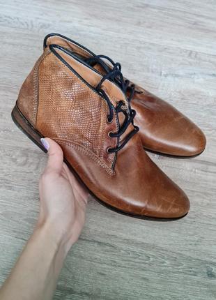 Туфли броги высокие черевики шкіра san marina