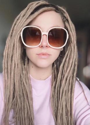 Тренд большие круглые очки бежевые коричневые солнцезащитные ретро окуляри сонцезахисні