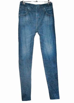 Джеггинсы xxs-xs лосины с джинсовым принтом утепленные теплі джегінси д3