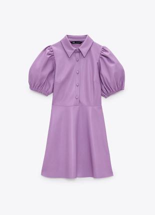 Красивое кожаное платье zara
