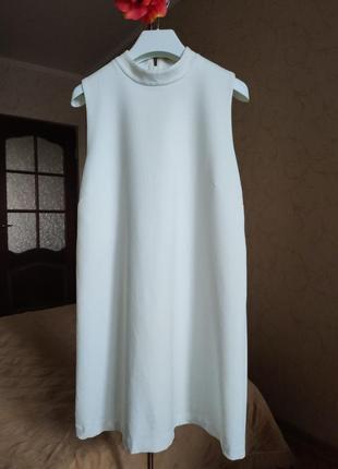 Мини платье белое трапеция трикотаж h&m