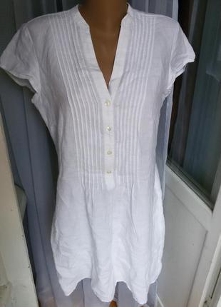 Стильное льняное платье рубашка с карманами 100% лен laura ashley