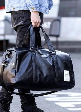 Мужская кожаная сумка с отделом для обуви. сумка в поездку.  дорожная сумка портфель