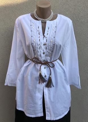 Белая блузка,рубаха,туника с вышивкой,апликацией(ракушки) в этно стиле, германия,хлопок