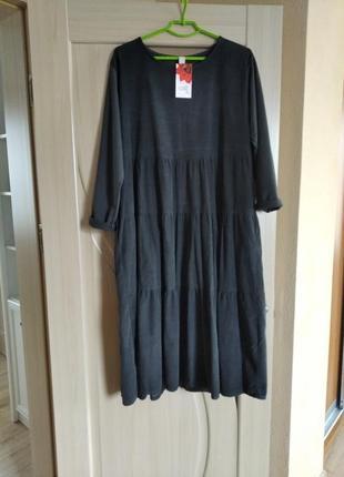 Платье микровельвет,италия,оверсайс