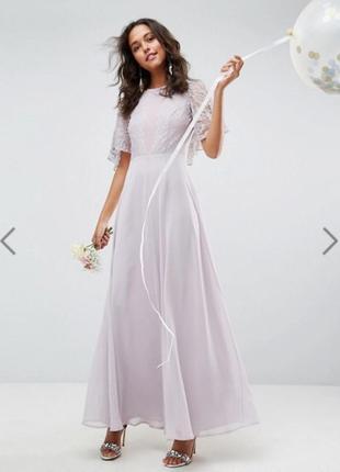 Новое с биркой нежное платье макси на выпускной с кружевом asos размер 10