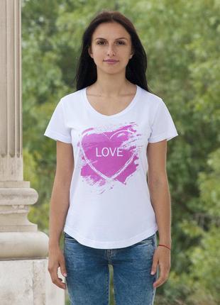 Белая футболка с нежно розовым принтом. #love #розовая #футболка