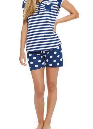 Пижама в горох ,синяя ( шорты, футболка)
