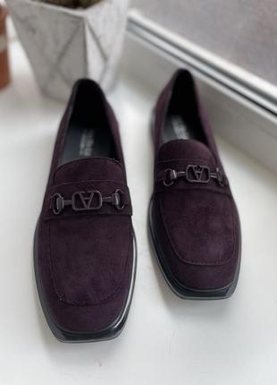 Лоферы туфли балетки квадратный носок
