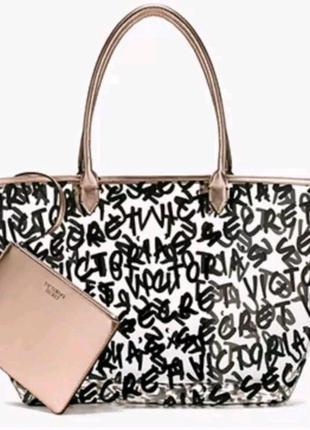 Пляжная прозрачная сумка victoria's secret + косметичка коллекция 2017 оригинал