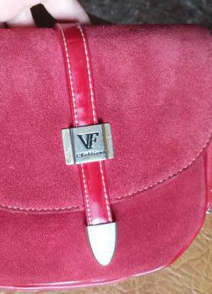 Красная замшевая сумка velina fabbiano
