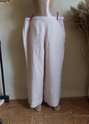 Новые просторные летние штаны со 100 % льна в светлом цвете пудра, размер 3-4хл