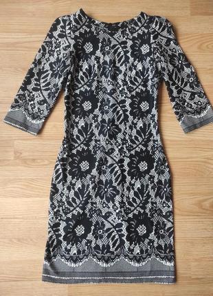 Классическое черно-белое приталенное платье миди для офиса