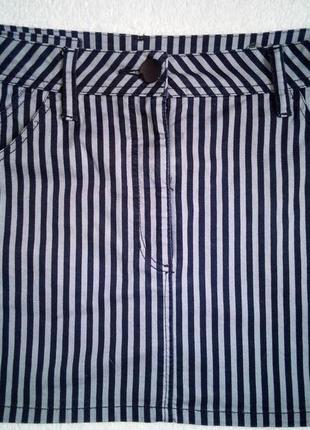 Джинсовая полосатая мини юбка