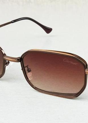 Cartier очки унисекс солнцезащитные коричневые в металлической оправе узкие модные