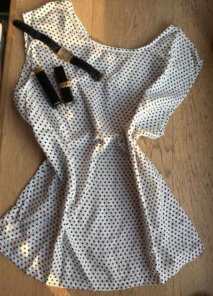 Блуза в мелкий горошек, новая! и эффектная. пошита профессионалом.
