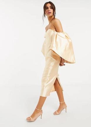 Платье миди с эффектными рукавами asos edition