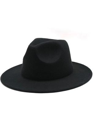 Фетровая шляпа федора, шляпа ковбойка черная, капелюх