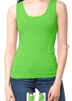 Коттоновая длинная майка сочная зелень chris line(размер 38)