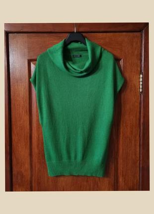 Шерстяной жилет only безрукавка шерсть зеленая жилетка