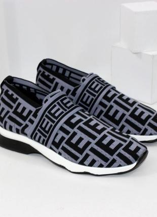 Женские черно-серые текстильные кроссовки без шнурков