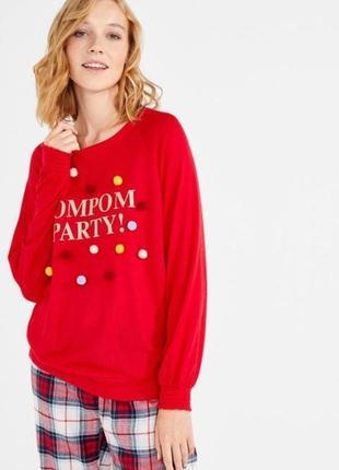 Мягусенький пижамный, домашний свитшот, джемпер women'secret с помпонами.