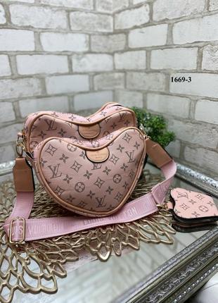 Новая пудровая сумка сердце 3в1