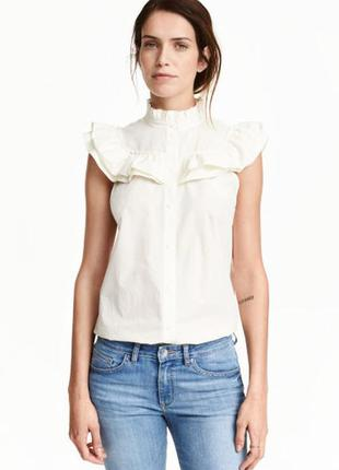 Хлопковая блуза с рюшами h&m