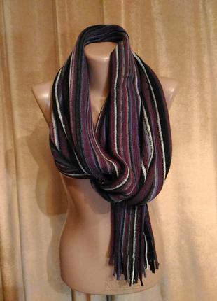 Тёплый мужской шарф в фиолетовую полоску акрил