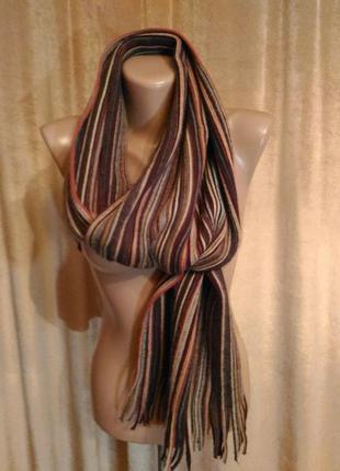 Тёплый мужской шарф  в коричневую полоску акрил