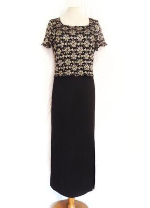 Шикарное черное платье с золотым верхом