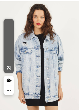 Шикарная новая джинсовая куртка оверсайз bershka, размер m .