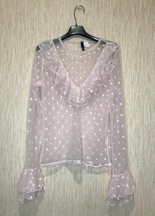 Блуза сетка в горох с рюшами, блузка комбинация