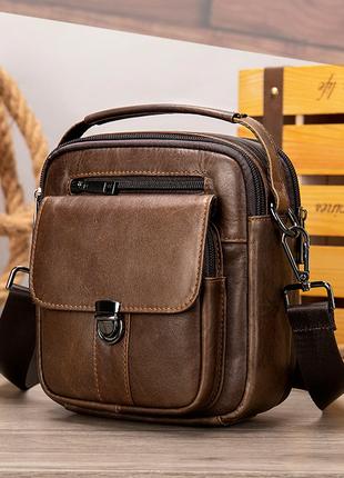 Небольшая мужская кожаная сумка с ручкой на два отдела. барсетка через плечо.кс27